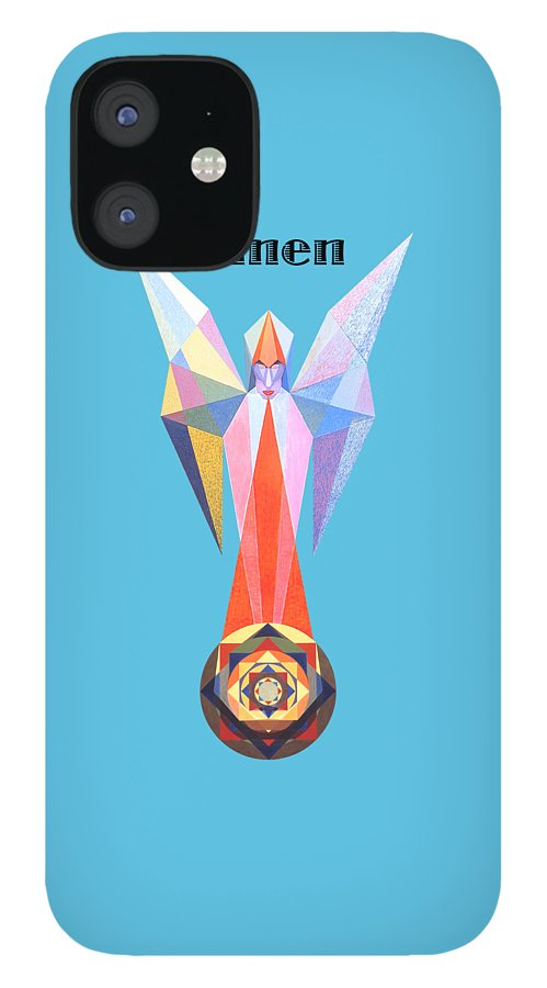 Painting IPhone 12 Case featuring the painting Omen text by Michael Bellon