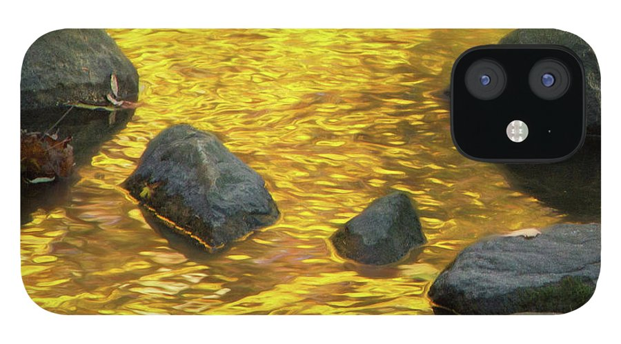 Abstracts iPhone 12 Case featuring the photograph On Golden Pond by Marilyn Cornwell