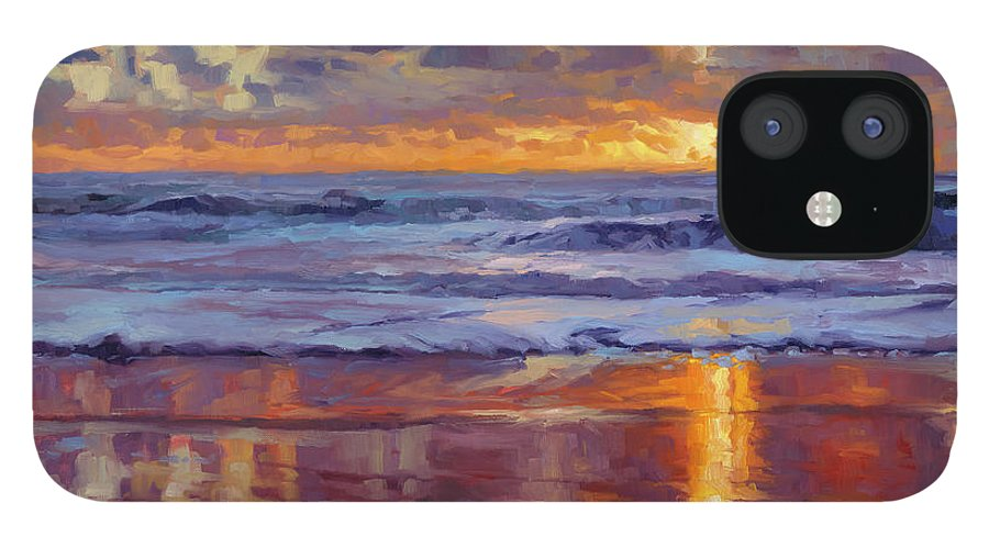 Ocean IPhone 12 Case featuring the painting On the Horizon by Steve Henderson