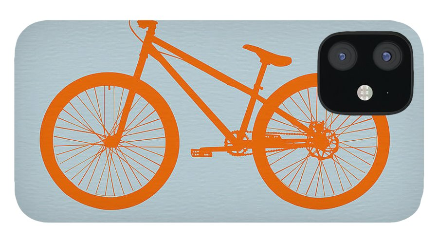 Bicycle IPhone 12 Case featuring the digital art Orange Bicycle by Naxart Studio