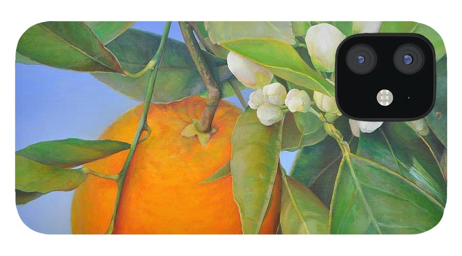 Floral Painting IPhone 12 Case featuring the painting Orange en Bouton by Muriel Dolemieux