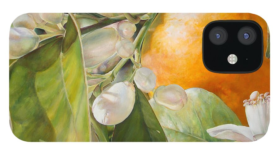 Floral Painting IPhone 12 Case featuring the painting Orange fleurie by Dolemieux