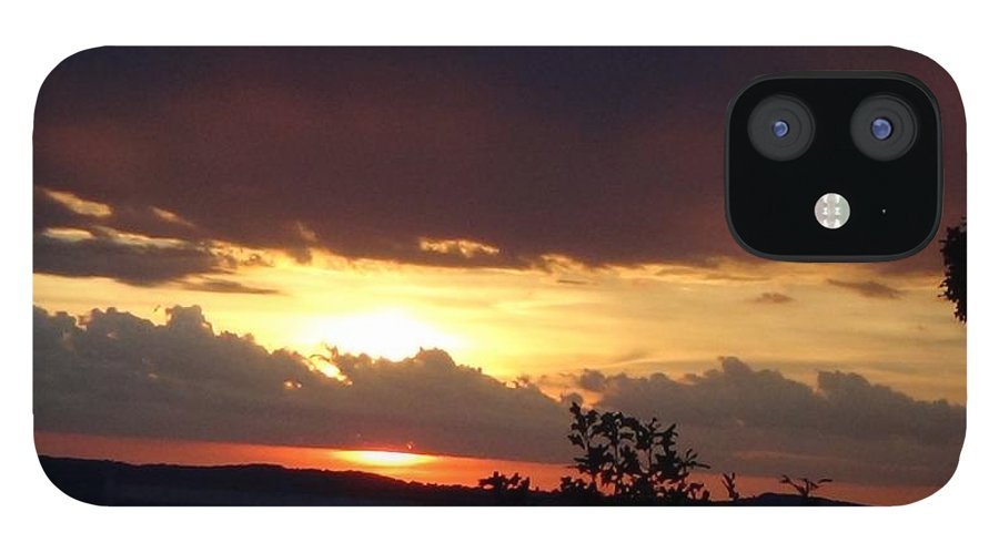 Sunset IPhone 12 Case featuring the photograph Orange September Sunset by Toni Berry