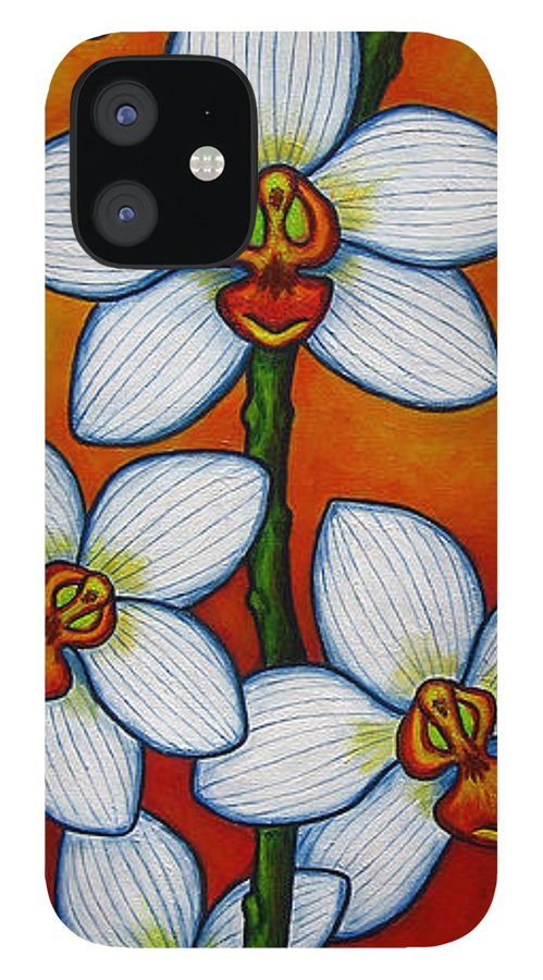 Orchids IPhone 12 Case featuring the painting Orchid Oasis by Lisa Lorenz