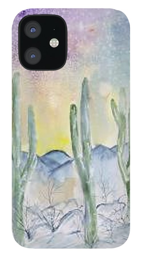Impressionistic IPhone 12 Case featuring the painting Organ Pipe Cactus desert southwestern painting poster print by Derek Mccrea
