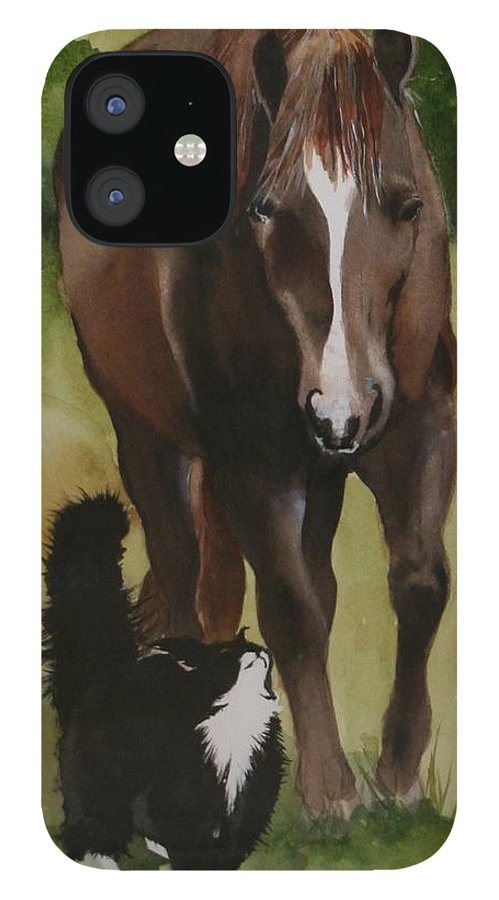 Horse IPhone 12 Case featuring the painting Oscar and Friend by Jean Blackmer