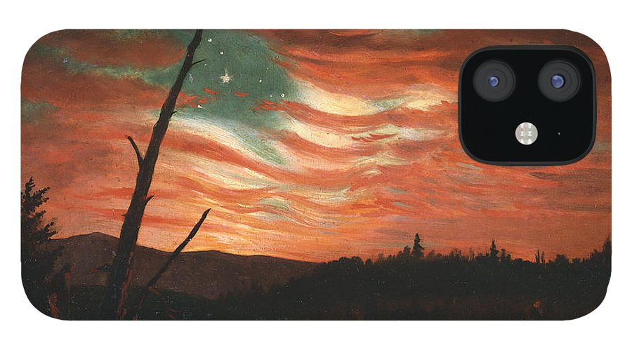 Our iPhone 12 Case featuring the painting Our Banner in the Sky by Frederic Edwin Church