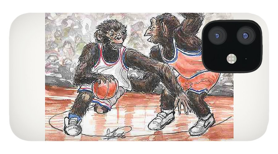 Basketball IPhone 12 Case featuring the painting Out of my Way by George I Perez