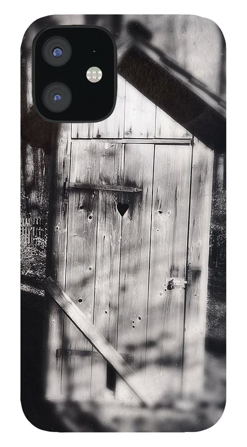 Outhouse IPhone 12 Case featuring the photograph Outhouse black and white wetplate by Matthias Hauser