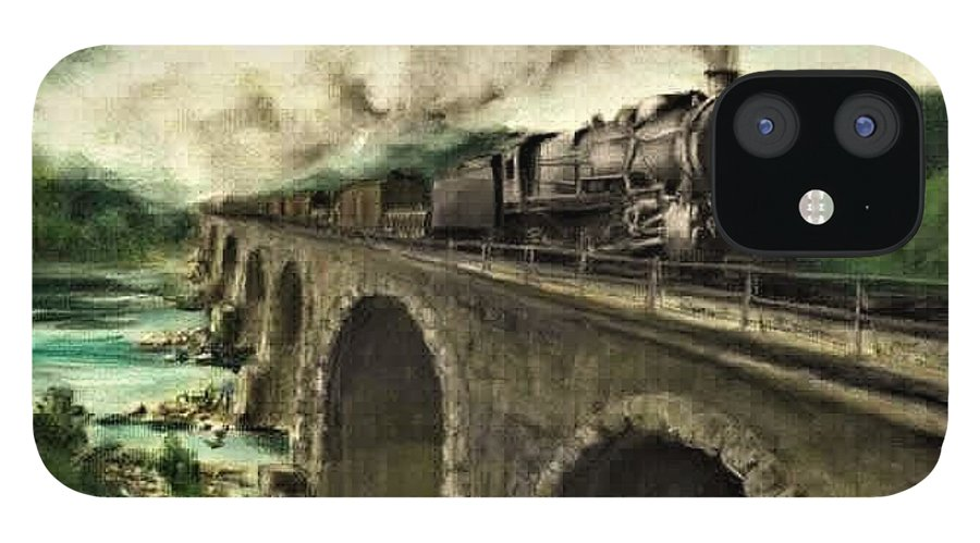 Steam Engine IPhone 12 Case featuring the painting Over the River by David Mittner