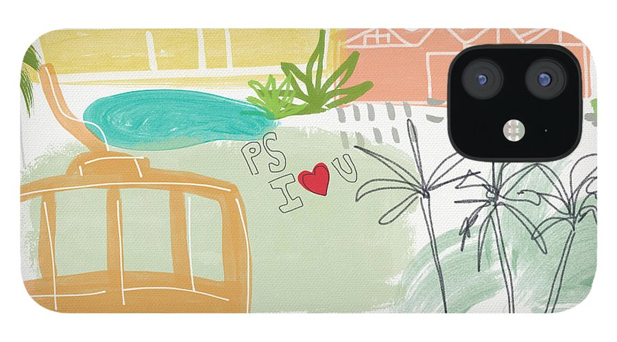 Palm Springs California iPhone 12 Case featuring the painting Palm Springs Cityscape- Art by Linda Woods by Linda Woods