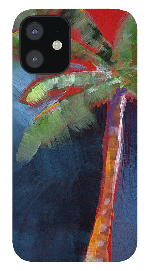 Palm Tree iPhone 12 Case featuring the painting Palm Tree- Art by Linda Woods by Linda Woods