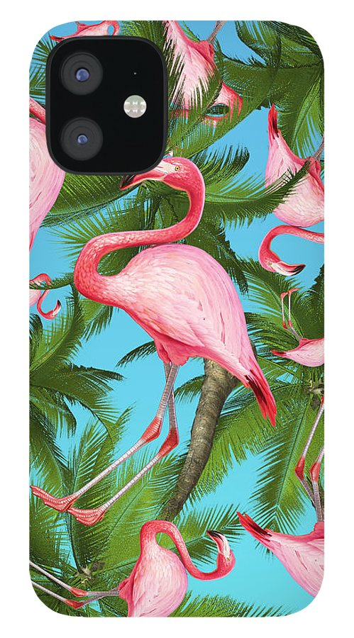 Summer iPhone 12 Case featuring the digital art Palm tree and flamingos by Mark Ashkenazi