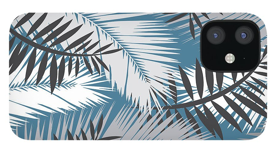 Summer IPhone 12 Case featuring the digital art Palm Trees 10 by Mark Ashkenazi