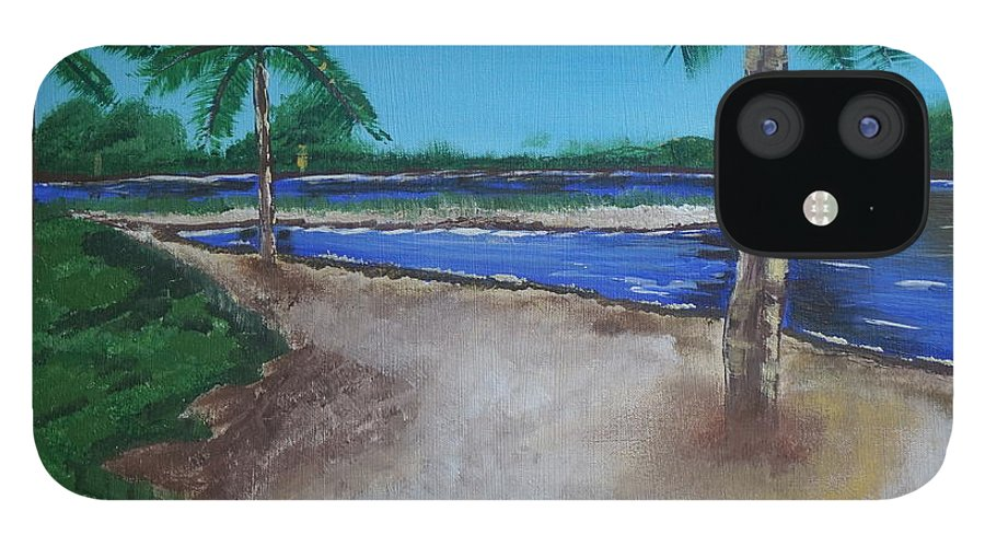 Landscape IPhone 12 Case featuring the painting Palm Trees on the Beach by Jimmy Clark