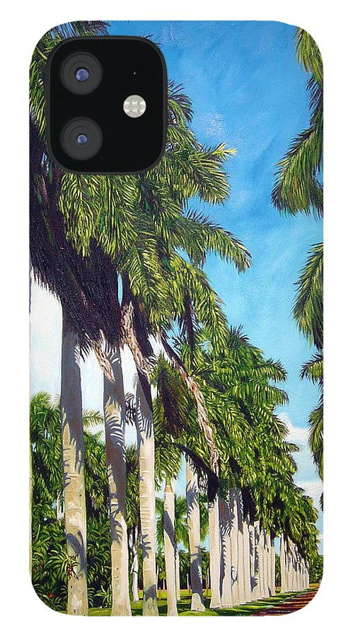 Palms IPhone 12 Case featuring the painting Palms by Jose Manuel Abraham