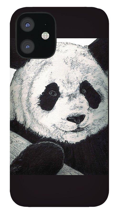 Panda IPhone 12 Case featuring the painting Panda by Debra Sandstrom