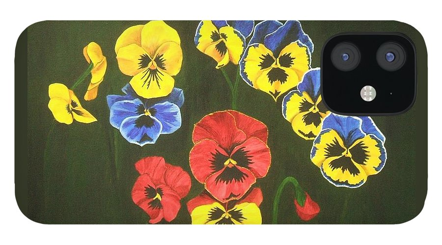 Pansy Flowers IPhone 12 Case featuring the painting Pansy Lions Too by Brandy House