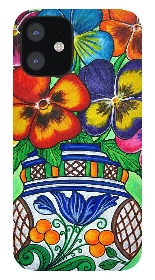 Flower IPhone 12 Case featuring the painting Pansy Parade by Lisa Lorenz