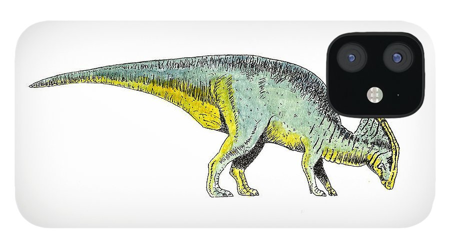Animals IPhone 12 Case featuring the painting Parasaurolophus by Michael Vigliotti