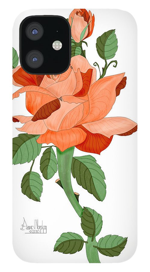 Rose IPhone 12 Case featuring the painting Party Colored Rose by Anne Norskog