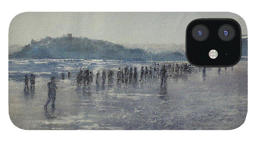 Sardinero iPhone 12 Case featuring the painting Paseo Por La Playa Del Sardinero by Tomas Castano