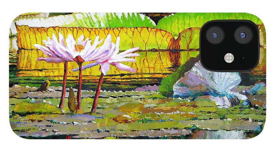Water Lilies IPhone 12 Case featuring the painting Passion for Color by John Lautermilch