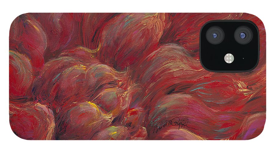 Red IPhone 12 Case featuring the painting Passion V by Nadine Rippelmeyer