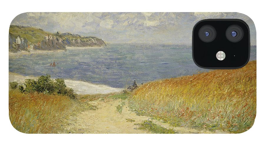 Path In The Wheat At Pourville IPhone 12 Case featuring the painting Path in the Wheat at Pourville by Claude Monet