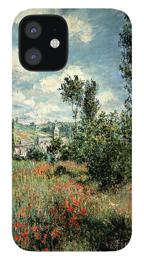 Path IPhone 12 Case featuring the painting Path through the Poppies by Claude Monet