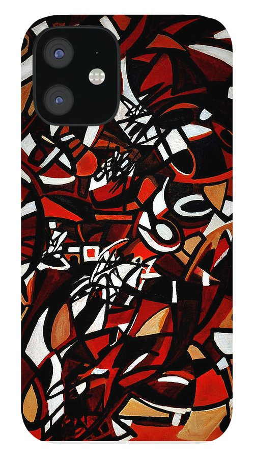 Abstract Design iPhone 12 Case featuring the painting Surface And Context by Carmen Fine Art
