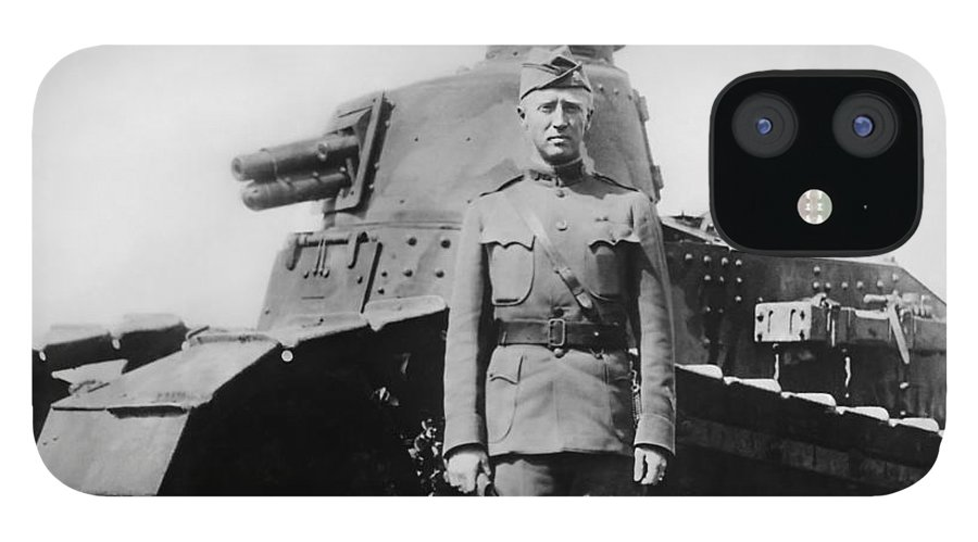 George Patton IPhone 12 Case featuring the photograph Patton Beside a Renault Tank - WWI by War Is Hell Store