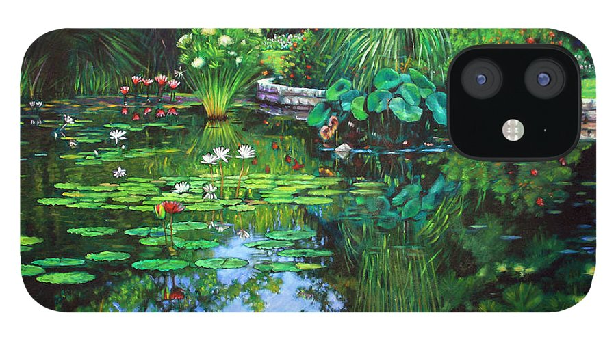 Landscape IPhone 12 Case featuring the painting Peace Floods my Soul by John Lautermilch