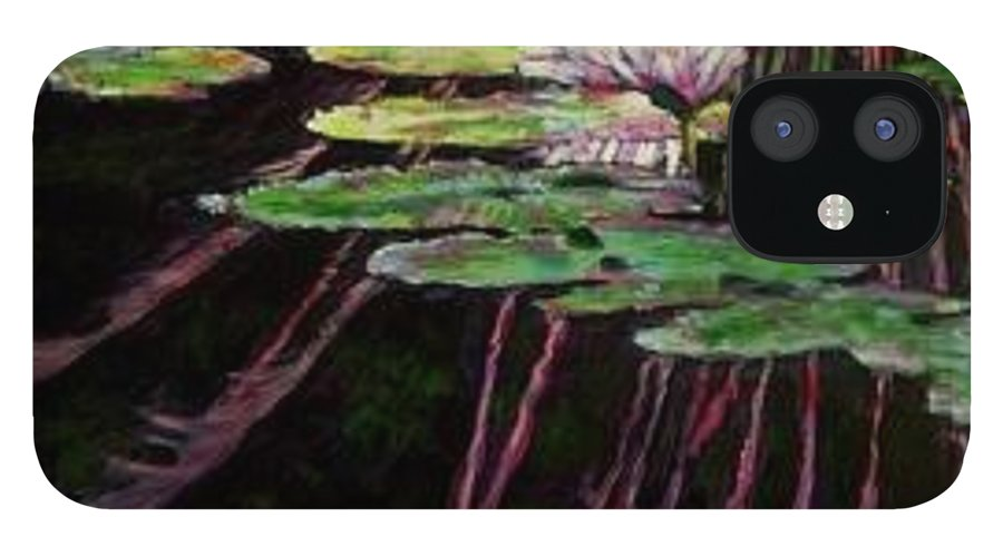 Quiet Pond With Water Lily And Reflections. Missouri Botanical Garden IPhone 12 Case featuring the painting Peaceful Reflections by John Lautermilch