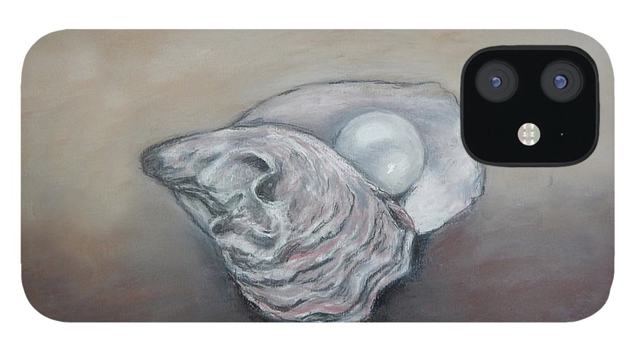 Oyster IPhone 12 Case featuring the drawing Pearl by Anne Kushnick