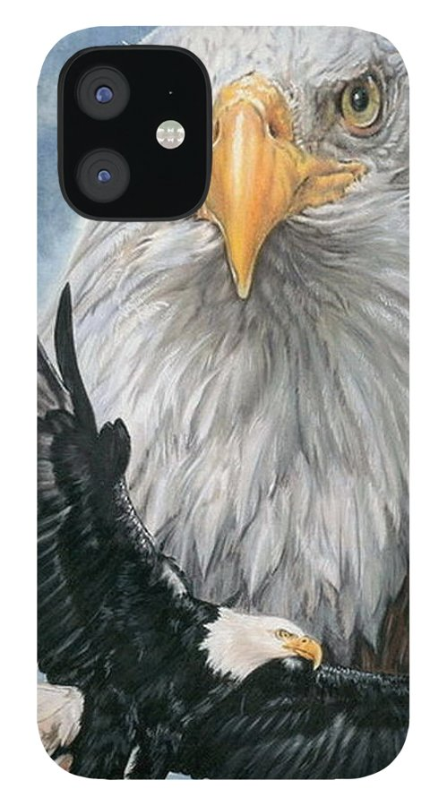 Bald Eagle IPhone 12 Case featuring the mixed media Peerless by Barbara Keith