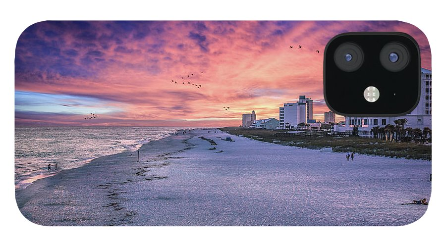Brent Shavnore Pensacola Beach Sunset Emerald Coast Escambia County IPhone 12 Case featuring the digital art Pensacola Beach Vibrant Sunset by Brent Shavnore