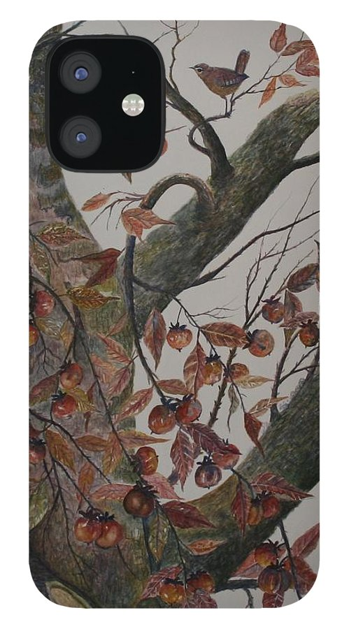 Persimmons; Tree; Landscape' Carolina Wren; Bird IPhone 12 Case featuring the painting Persimmon Tree by Ben Kiger