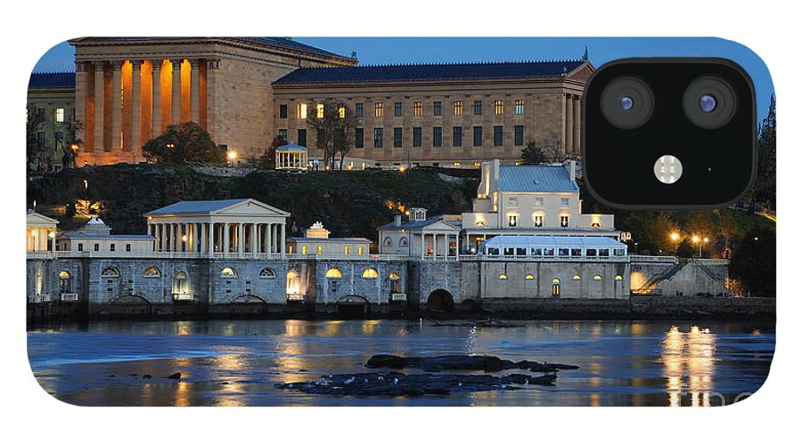 Philadelphia iPhone 12 Case featuring the photograph Philadelphia Art Museum and Fairmount Water Works by Gary Whitton