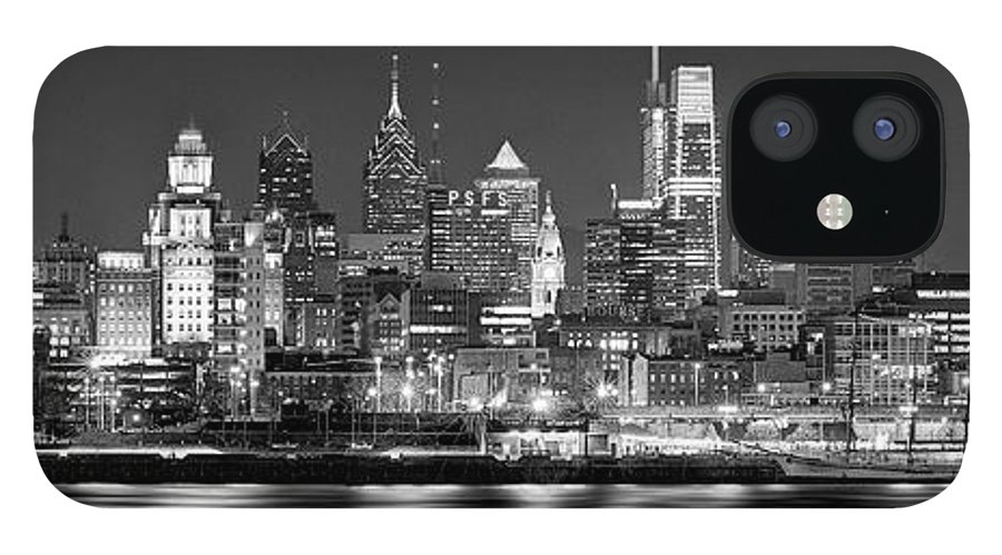 Philadelphia Skyline At Night IPhone 12 Case featuring the photograph Philadelphia Philly Skyline at Night from East Black and White BW by Jon Holiday