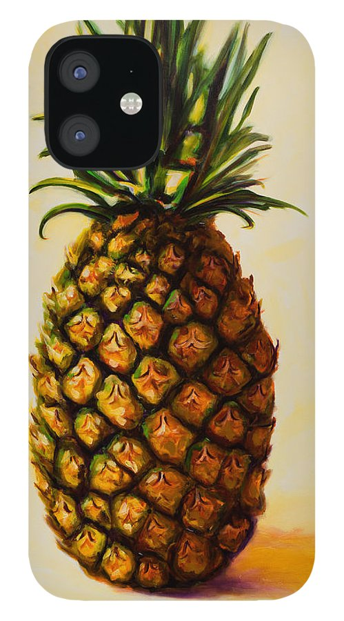 Pineapple IPhone 12 Case featuring the painting Pineapple Angel by Shannon Grissom