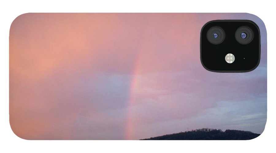Pink Clouds IPhone 12 Case featuring the photograph Pink clouds with rainbow by Toni Berry