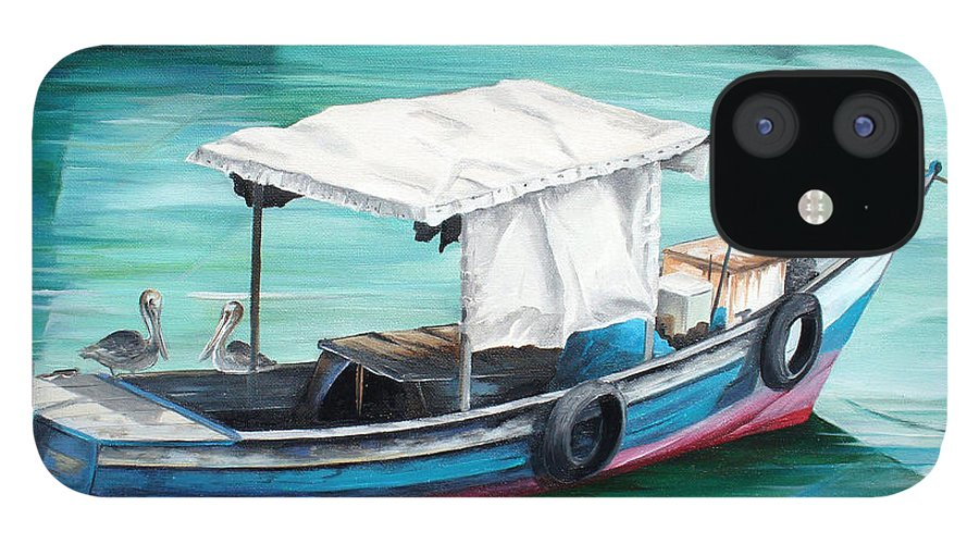 Fishing Boat Painting Seascape Ocean Painting Pelican Painting Boat Painting Caribbean Painting Pirogue Oil Fishing Boat Trinidad And Tobago IPhone 12 Case featuring the painting Pirogue Fishing Boat by Karin Dawn Kelshall- Best