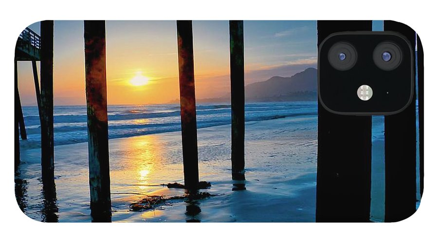 California IPhone 12 Case featuring the photograph Pismo Beach Pier Sunset by Zayne Diamond Photographic