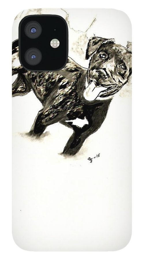 Pit Bull IPhone 12 Case featuring the digital art Pit Bull 4 by Crystal Webb