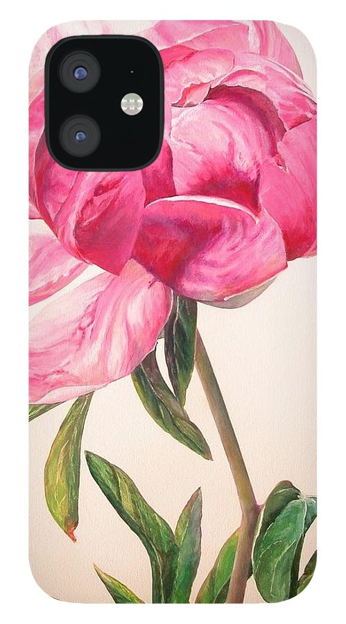 Floral Painting IPhone 12 Case featuring the painting Pivoine 1 by Muriel Dolemieux