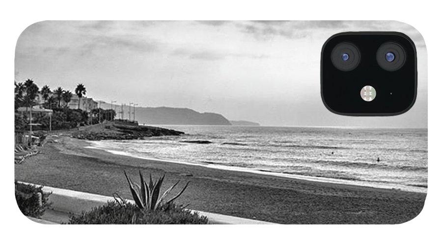 Monochromephotography IPhone 12 Case featuring the photograph Playa Burriana, Nerja by John Edwards