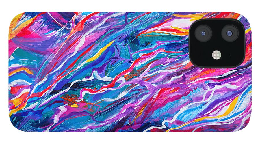 Filaments Lines Strokes Rushing Water Full Of Vibrant Color And Dynamic Movement Energy Contemporary Original Abstract IPhone 12 Case featuring the painting Playful stream by Priscilla Batzell Expressionist Art Studio Gallery