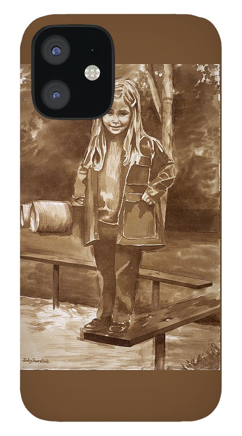 Little Girl On Bench In Park IPhone 12 Case featuring the painting Playground 2 by Judy Swerlick