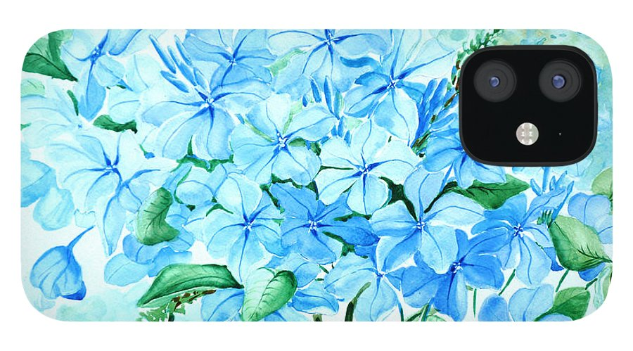 Floral Blue Painting Plumbago Painting Flower Painting Botanical Painting Bloom Blue Painting IPhone 12 Case featuring the painting Plumbago by Karin Dawn Kelshall- Best